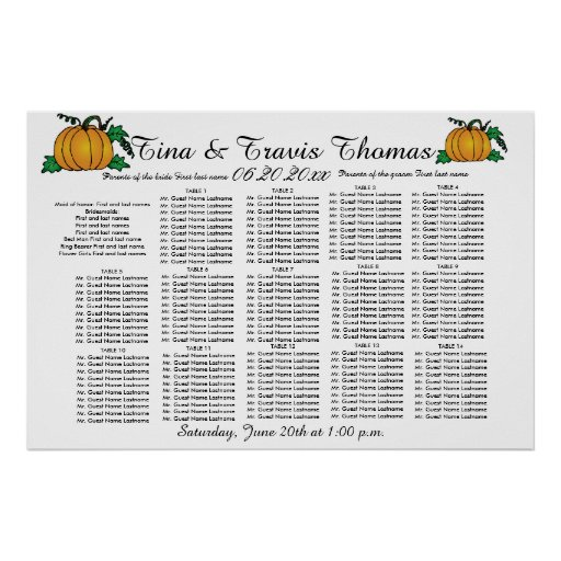 Fall Pumpkins Party Wedding Guests Seating Charts Posters