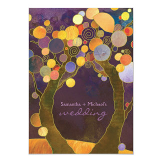 Fall Purple Love Trees Romantic Wedding Card