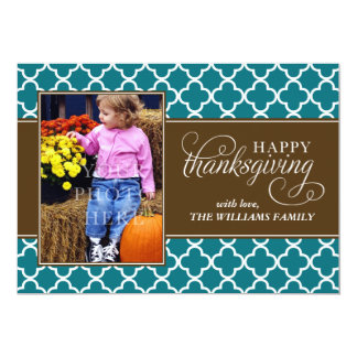 Fall Quatrefoil Pattern Thanksgiving Photo Card