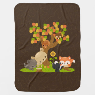Fall Racoon, Deer, Owl, Skunk, Squirrel & Fox Baby Blanket