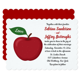 Fall Red Burgundy Wedding Country Apple Love Card