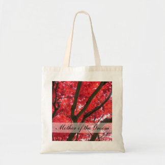 fall red maple tree wedding bags for bride, groom,