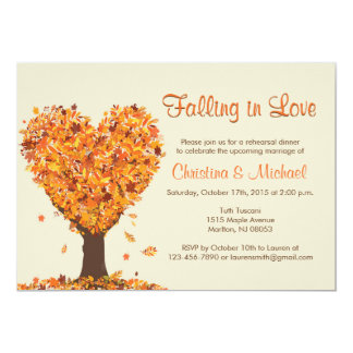 Fall Rehearsal Dinner Invitations- Falling in Love Card