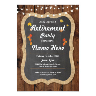 Fall Retirement Party Rustic Retired Wood Invite