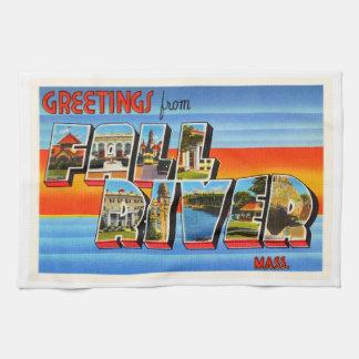 Fall River Massachusetts MA Old Travel Souvenir Hand Towel