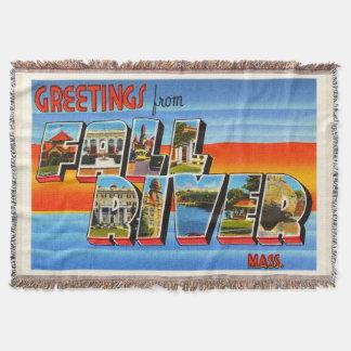 Fall River Massachusetts MA Old Travel Souvenir Throw Blanket