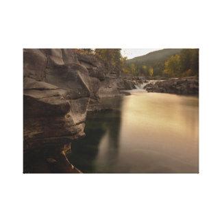 Fall River Scene On Canvas