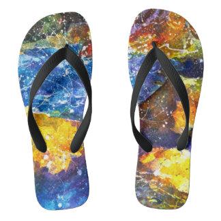 Fall River watercolor flip Flops