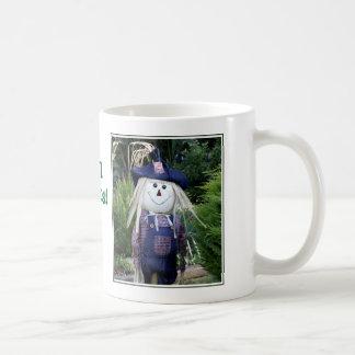'Fall Rocks' Cute Scarecrow in Blue Mug