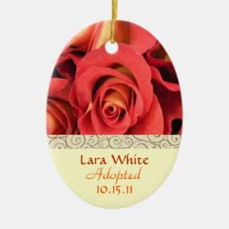 Fall Rose Floral Adoption Announcement Keepsake Ceramic Oval Ornament
