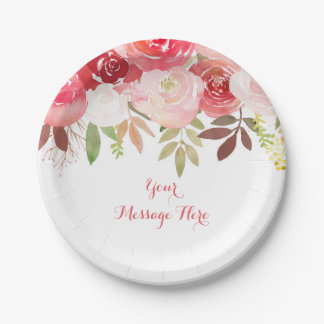 Fall Rose Floral Baby Shower Paper Plate