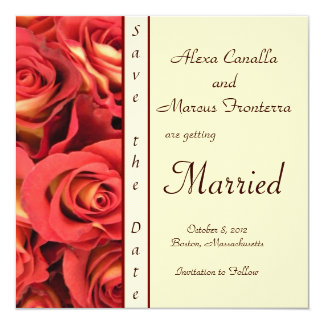 """Fall Rose Floral Wedding Save the Date 5.25"""" Square Invitation Card"""