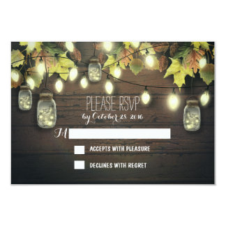 "Fall RSVP cards with twinkle lights mason  jars 3.5"" X 5"" Invitation Card"