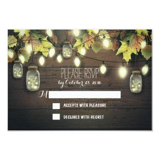 "Fall RSVP cards with twinkle lights mason  jars 3.5"" X 5"" Invitation Card"