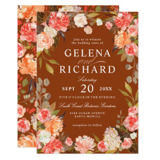 Fall Rust Peach Olive Watercolor Floral Wedding Card