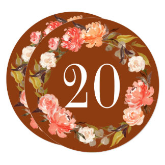 Fall Rust Peach Watercolor Floral Table Number