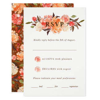 Fall Rust Peach Watercolor Floral Wedding RSVP Card