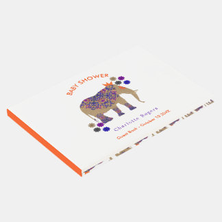 Fall Rustic Color Cute Elephant Baby Shower Guest Book
