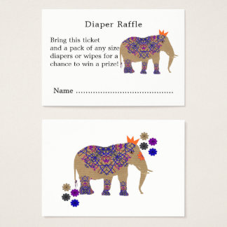Fall Rustic Color Cute Elephant Diaper Raffle Business Card