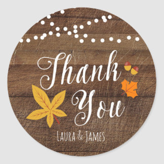 Fall Rustic Thank You Stickers