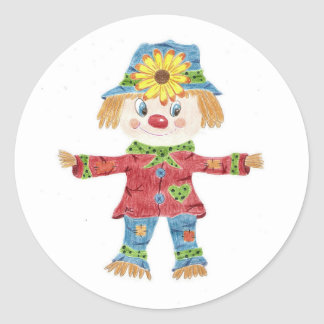 Fall scarecrow kids round stickers