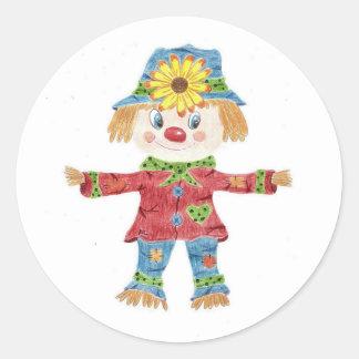 Fall scarecrow kids white round stickers