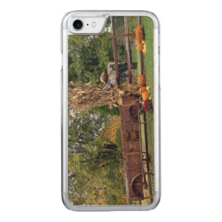 Fall Scene Old-Time Farm Cart, Scarecrow, Pumpkins Carved iPhone 7 Case