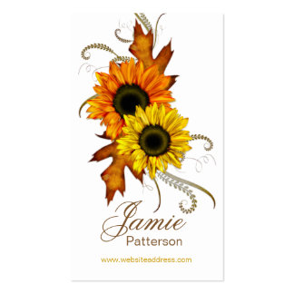 Fall Season Flower Vertical Business Cards 2