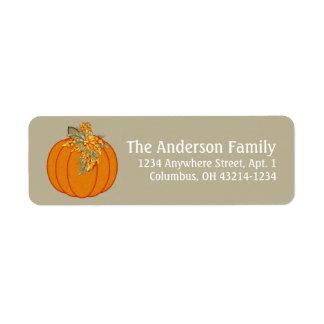 Fall Season Pumpkin Design 1 Return Address Labels