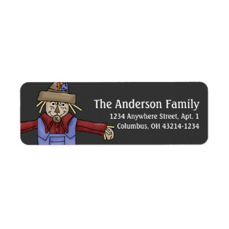 Fall Season Scarecrow Return Address Labels