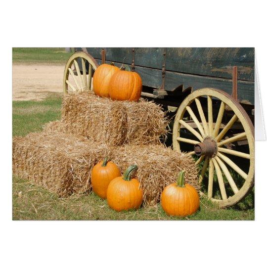 Fall season showing pumpkins card