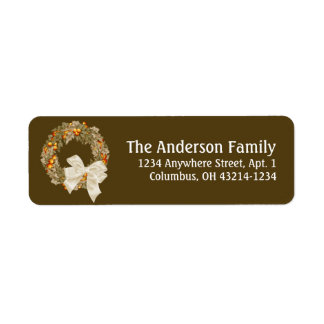 Fall Season Wreath Design 2 Return Address Labels