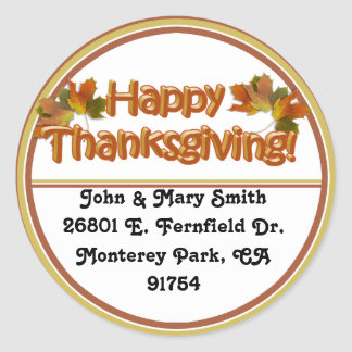Fall Seasons Best Happy Thanksgiving Text Classic Round Sticker