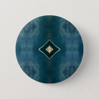 Fall Shade Of Blue With Cream Diamond Shape 2 Inch Round Button