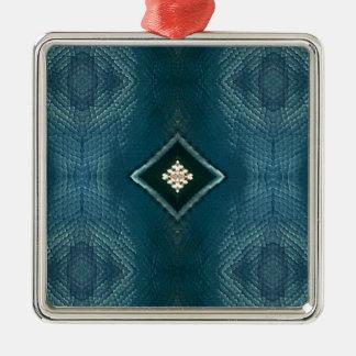 Fall Shade Of Blue With Cream Diamond Shape Silver-Colored Square Ornament