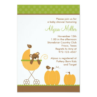 Fall Stroller Baby Shower Invitations