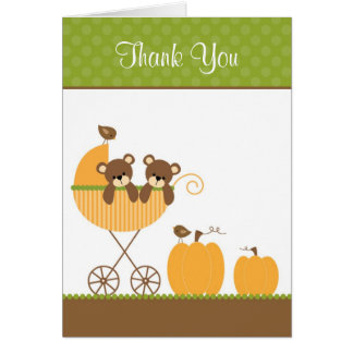 Fall Stroller Twin Bears Note Cards
