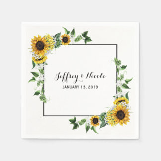 Fall Sunflower Rustic Barn Country Wedding Disposable Napkins
