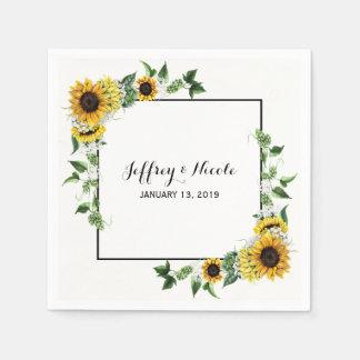 Fall Sunflower Rustic Barn Country Wedding Paper Napkin