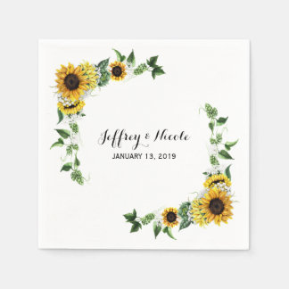 Fall Sunflower Rustic Barn Country Wedding Paper Napkins