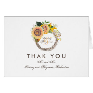 Fall Sunflowers Rustic Wedding Thank You Card