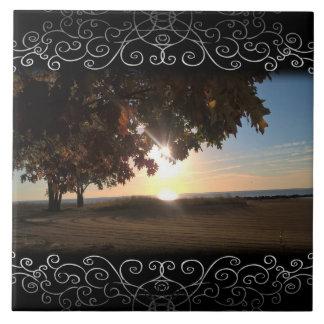 Fall Sunrise At The Lake Ceramic Tiles
