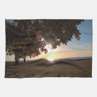 Fall Sunrise At The Lake Kitchen Towel