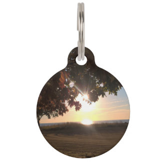 Fall Sunset At The Lake Pet Name Tag