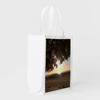 Fall Sunset At The Lake Reusable Grocery Bags
