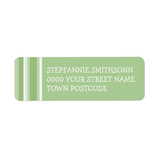 Fall Tango Stripes green Return Address Label