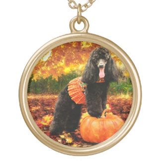 Fall Thanksgiving - Gidget - Poodle Gold Plated Necklace