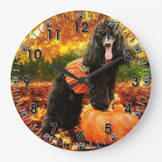 Fall Thanksgiving - Gidget - Poodle Large Clock