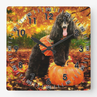 Fall Thanksgiving - Gidget - Poodle Square Wall Clock