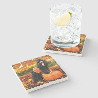 Fall Thanksgiving - Gidget - Poodle Stone Beverage Coaster